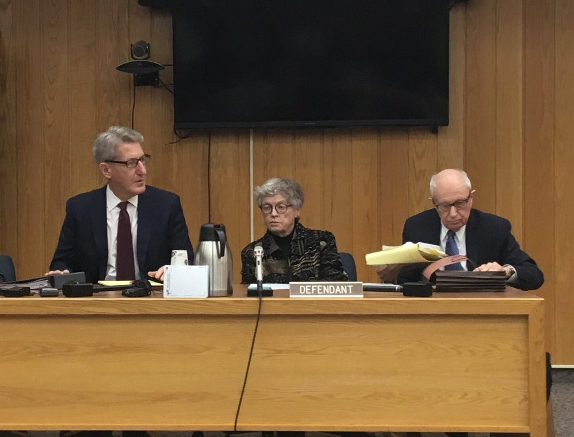 Former Michigan State University President Lou Anna Simon appears in Eaton County District Court on Nov. 26, 2018 for arraignment on four counts of lying to police during an inquiry into MSU's handling of Larry Nassar.