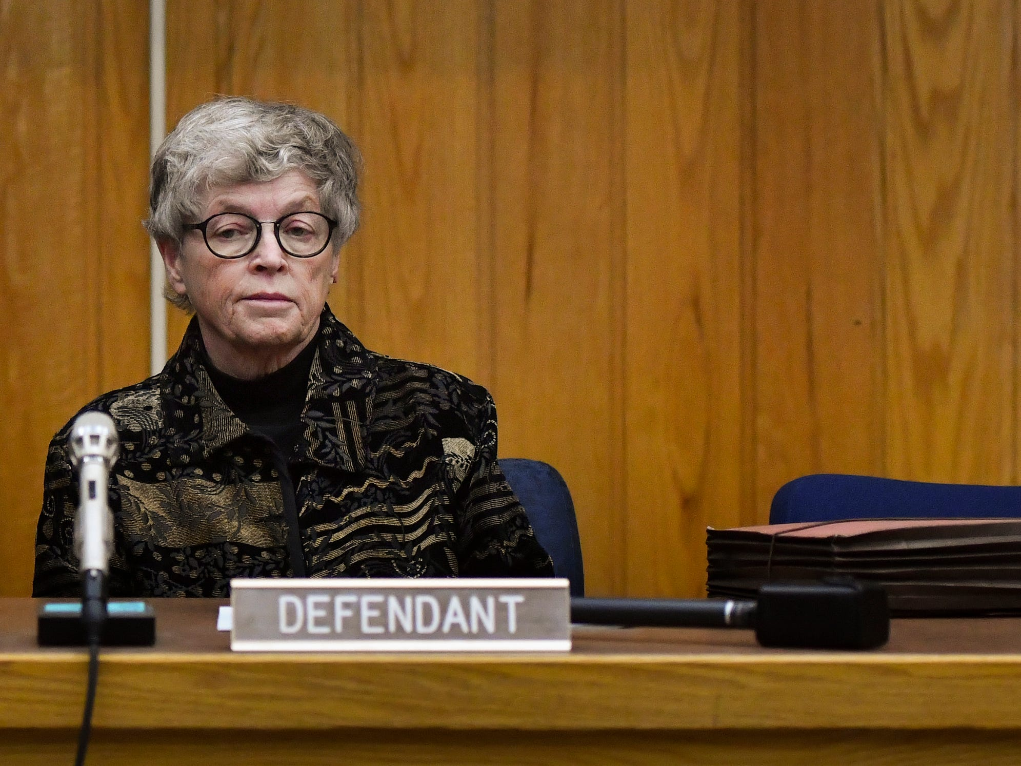 Former MSU President Lou Anna Simon appears in Judge Julie Reincke's Eaton County Court Monday, Nov. 26, 2018, for her arraignment on four charges of lying to police.  [AP Photo/Matthew Dae Smith/Lansing State Journal]