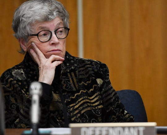 Former MSU President Lou Anna Simon appears before  Judge Julie Reincke in Eaton County on Monday, Nov. 26, 2018, for her arraignment on four charges of lying to police related to the Larry Nassar investigation.  [AP Photo/Matthew Dae Smith/Lansing State Journal]