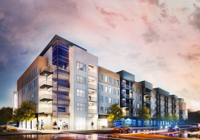 A rendering of Madison@McLean, a new 108-unit apartment building that will open in Midtown in 2019. The building will have one- and two-bedroom units, covered parking and retail space.