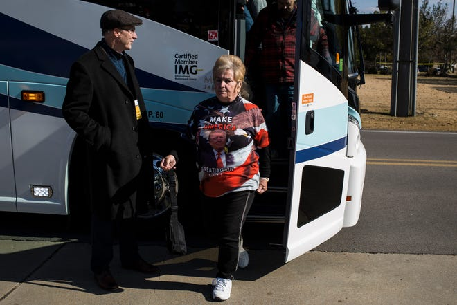 November 26 2018 - Jacqueline Wright arrives early for a rally where President Donald Trump will speak in support of Sen. Cindy Hyde-Smith at the Tupelo Regional Airport on Monday. Hyde-Smith faces Democratic challenger Mike Espy in a runoff for the Senate seat on Tuesday.