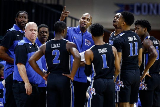 Memphis head coach Penny Hardaway during a break in action against the College of Charleston at the Advocate Invitational in Orlando Sunday, November 25, 2018.