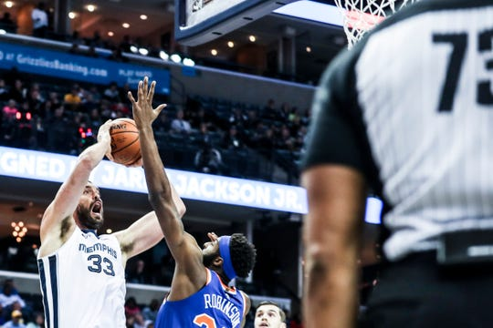 November 25 2018 - Marc Gasol attempts a shot during Sunday night's game versus the New York Knicks at the FedExForum.