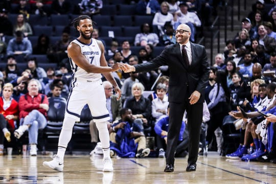 November 25 2018 - Wayne Selden Jr. shakes hands with New York Knicks head coach David Fizdale during Sunday night's game versus the New York Knicks at the FedExForum.