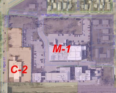 The Knights of Columbus property (lower left corner) is to be rezoned to accommodate a planned expansion by Chr. Hansen Inc.