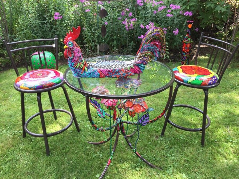 The outside of her home nearLynndale Farms was ordained with brightly colored garden art and garden sculptures.