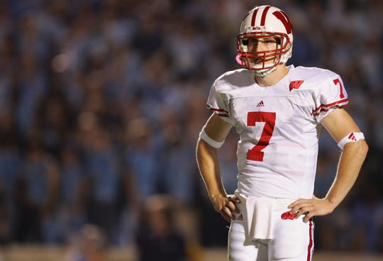 Quarterback John Stocco of the Wisconsin Badgers looks on during a game in 2005.