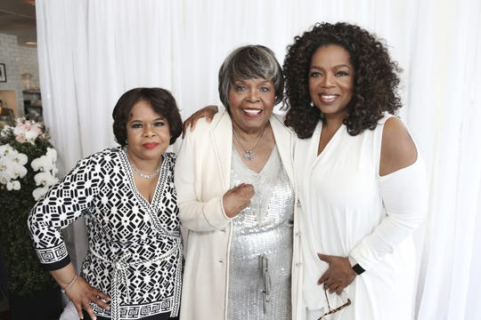 Vernita Lee (center) is pictured with her daughters Oprah Winfrey and Patricia Amanda Faye Lee on her 80th birthday in 2015.