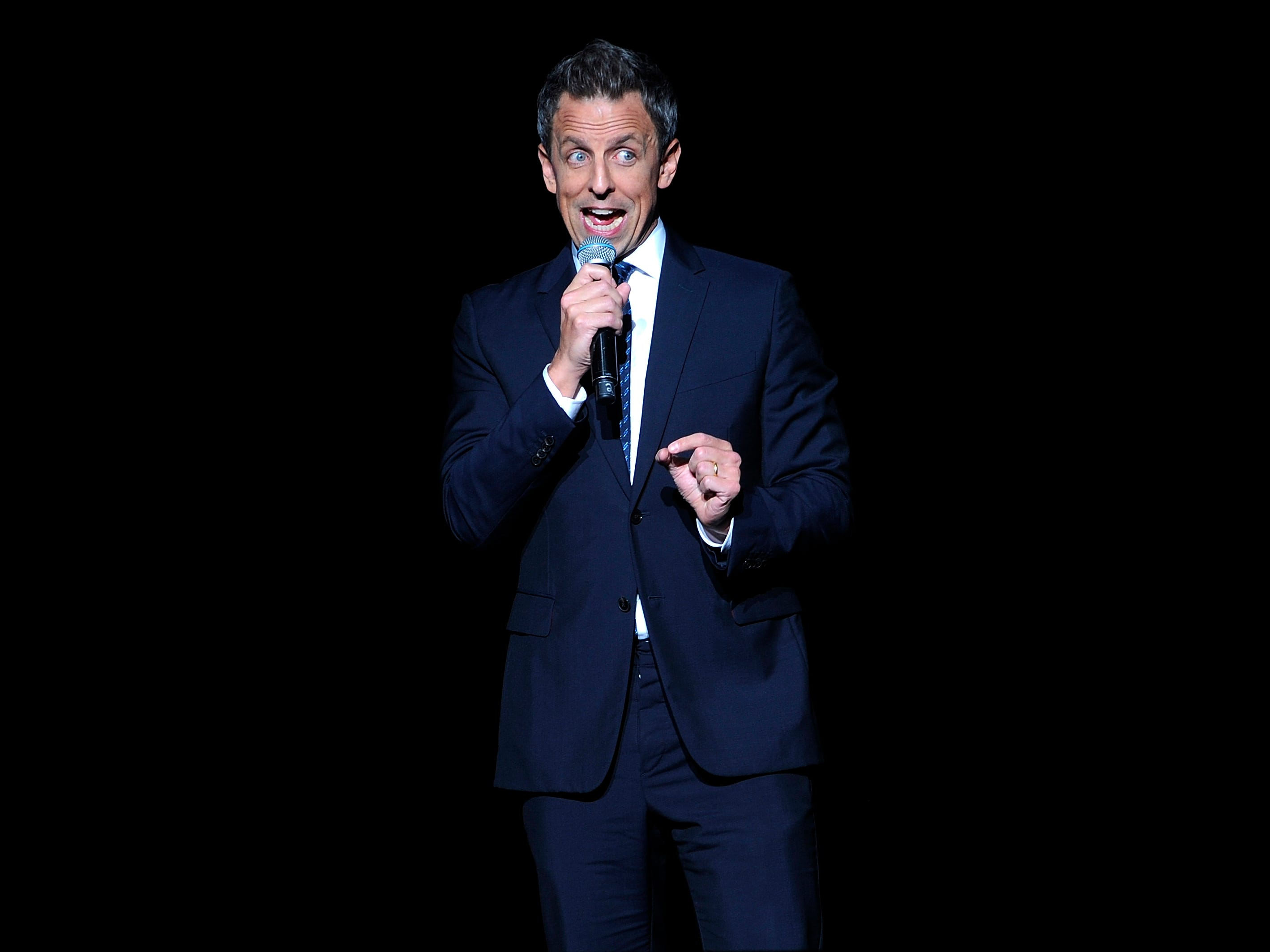 "Seth Meyers performs at the Stand Up For Heroes benefit concert in New York City on Nov. 5. Meyers, host of ""Late Night With Seth Meyers,"" will headline Laugh It Up Milwaukee"" at the Pabst Theater Jan. 12."