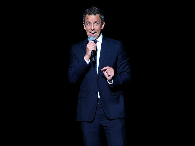 """Seth Meyers performs at the Stand Up For Heroes benefit concert in New York City on Nov. 5. Meyers, host of """"Late Night With Seth Meyers,"""" will headline Laugh It Up Milwaukee"""" at the Pabst Theater Jan. 12."""