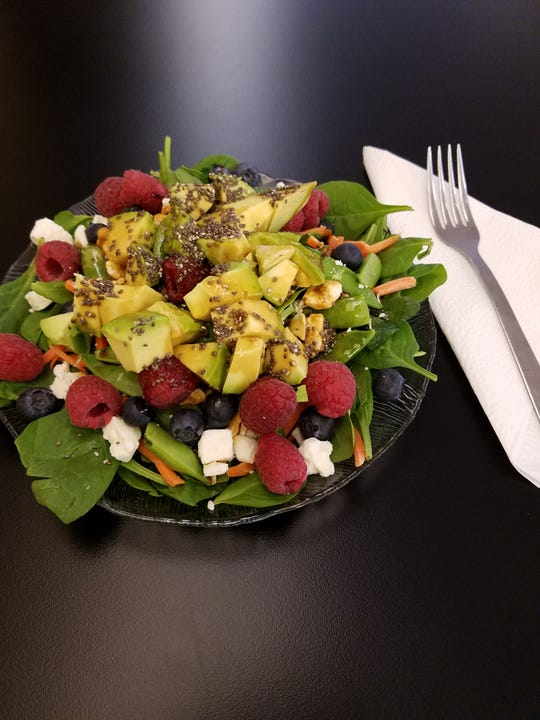 Brewers Two offers a number of salads including the Power Salad with spinach, carrot, snap peas, blueberries, raspberries, avocado, chia seeds, crumbled feta and raw almonds.