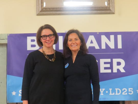 Darcy Draeger and Dr. Lisa Bhimani at the launch of their campaign for the Democratic nomination for the 2019 LD 25 Assembly race, at the Brookside Community Center,Mendham Township. Nov. 26, 2018.