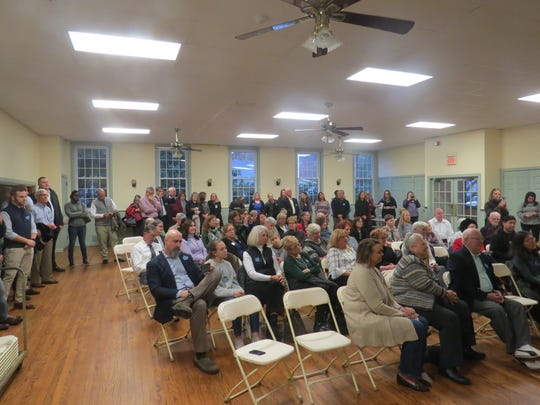 The crowd for Darcy Draeger and Dr. Lisa Bhimani and Lisa Mandelbladt at the launch of their campaign for the Democratic nomination for the 2019 LD 25 Assembly race, at the Brookside Community Center,Mendham Township. Nov. 26, 2018.