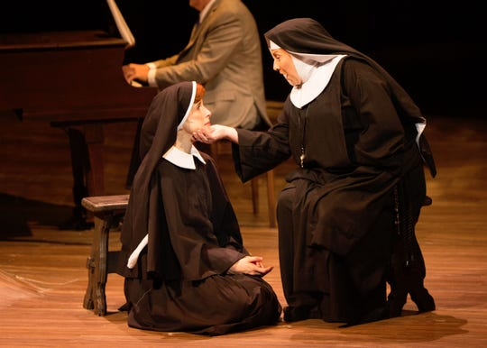 "Courtney Bassett as Maria Rainer, left, and Ann Arvia as Mother Abbess in Alabama Shakespeare Festival's production of ""The Sound of Music."""