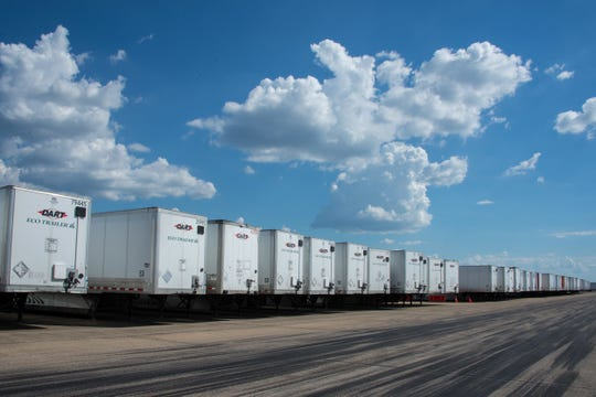 Federal Emergency Management Agency tractor – trailers await transit in support of Hurricane response efforts Sept. 19, 2018, Maxwell Air Force Base, Ala. Maxwell is the Incident Support Base for the entire South East.