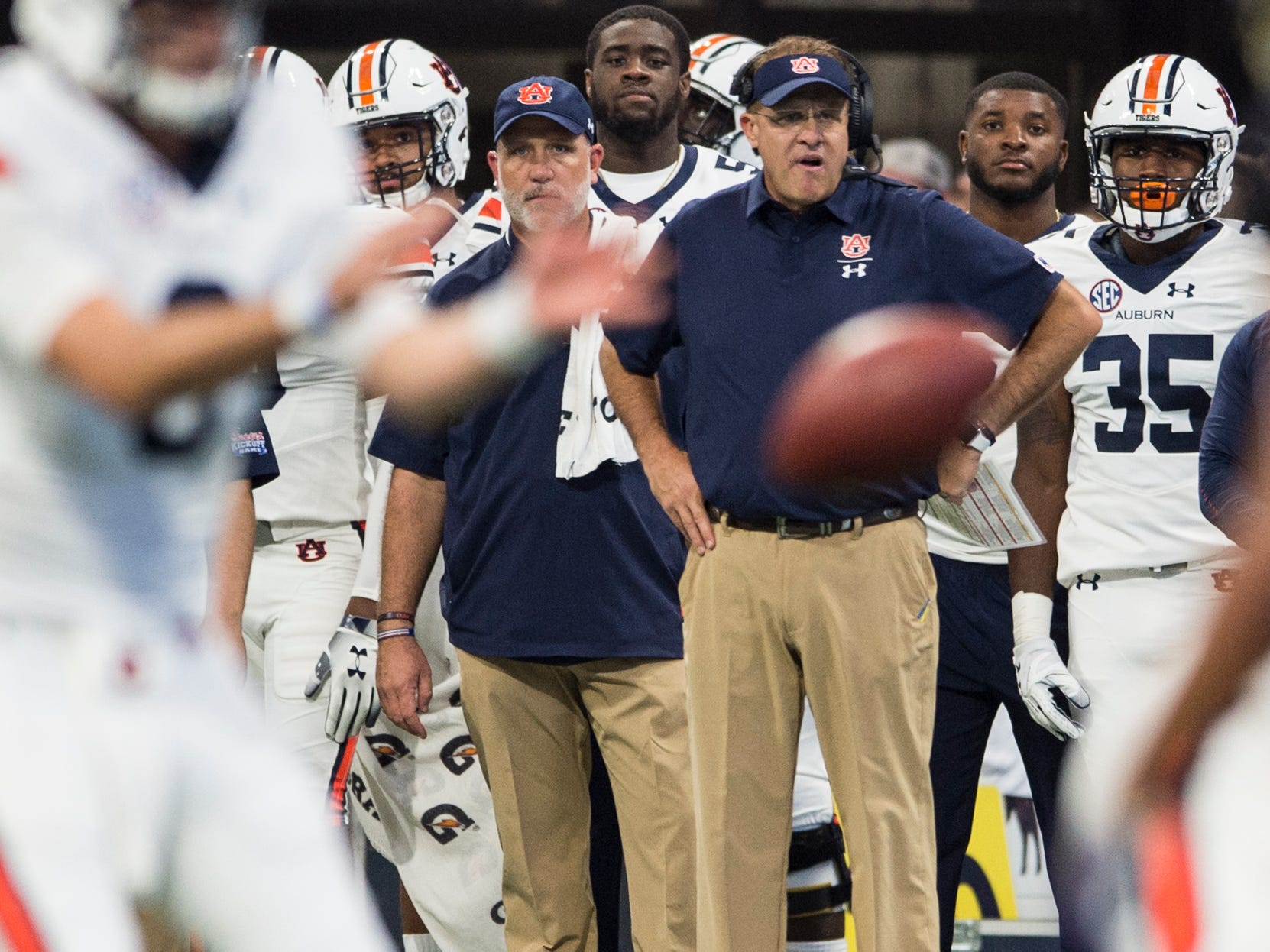 Auburn head coach Gus Malzahn watches as his team snaps the ball at Mercedes-Benz Stadium in Atlanta, Ga., on Saturday, Sept. 1, 2018. Auburn defeated Washington 21-16 in the Chick-fil-a Kickoff Game.