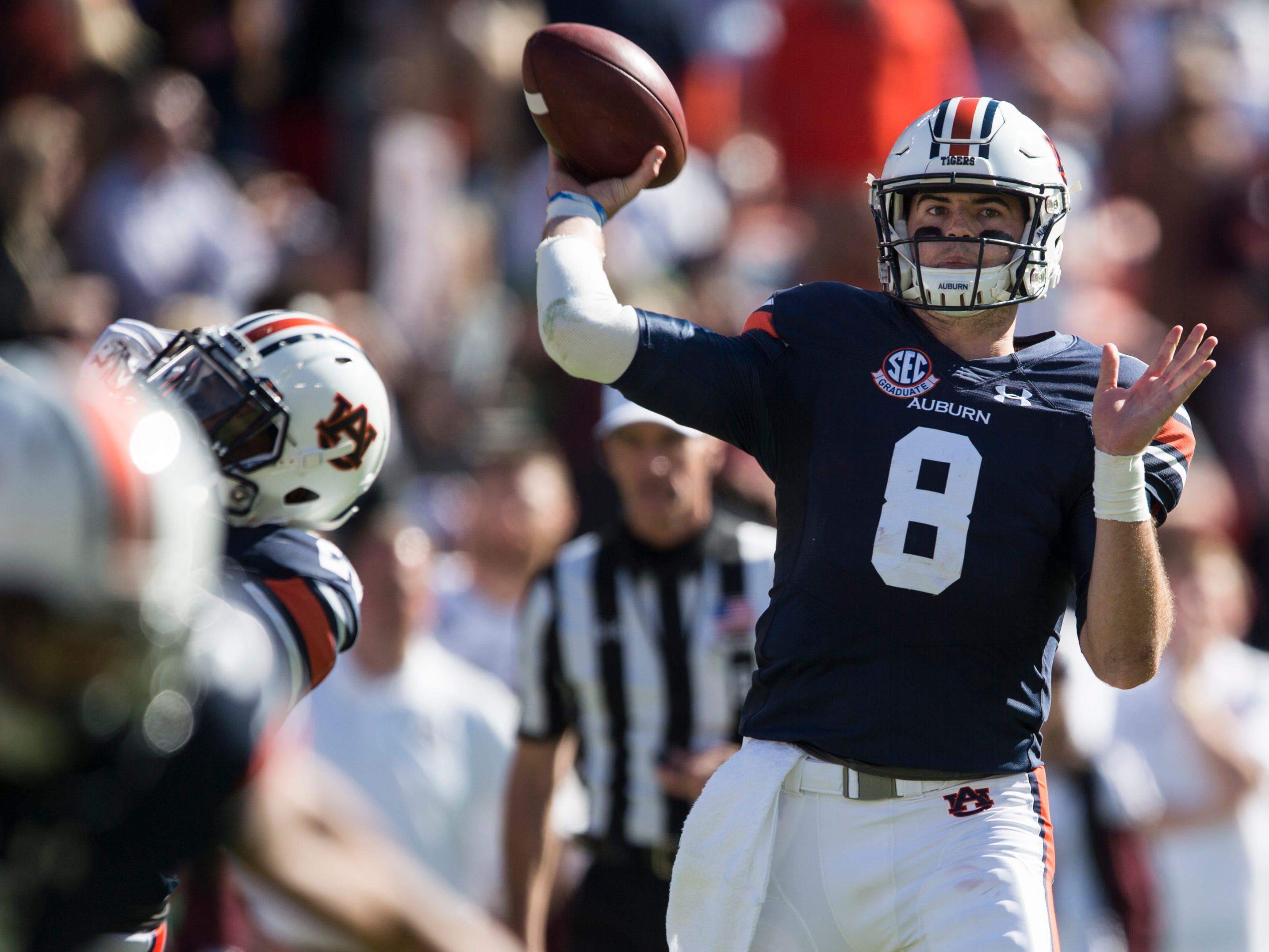 Auburn quarterback Jarrett Stidham (8) throws the game winning touchdown pass against Texas A&M at Jordan-Hare Stadium on Saturday, Nov. 3, 2018. Auburn defeated Texas A&M 28-24.