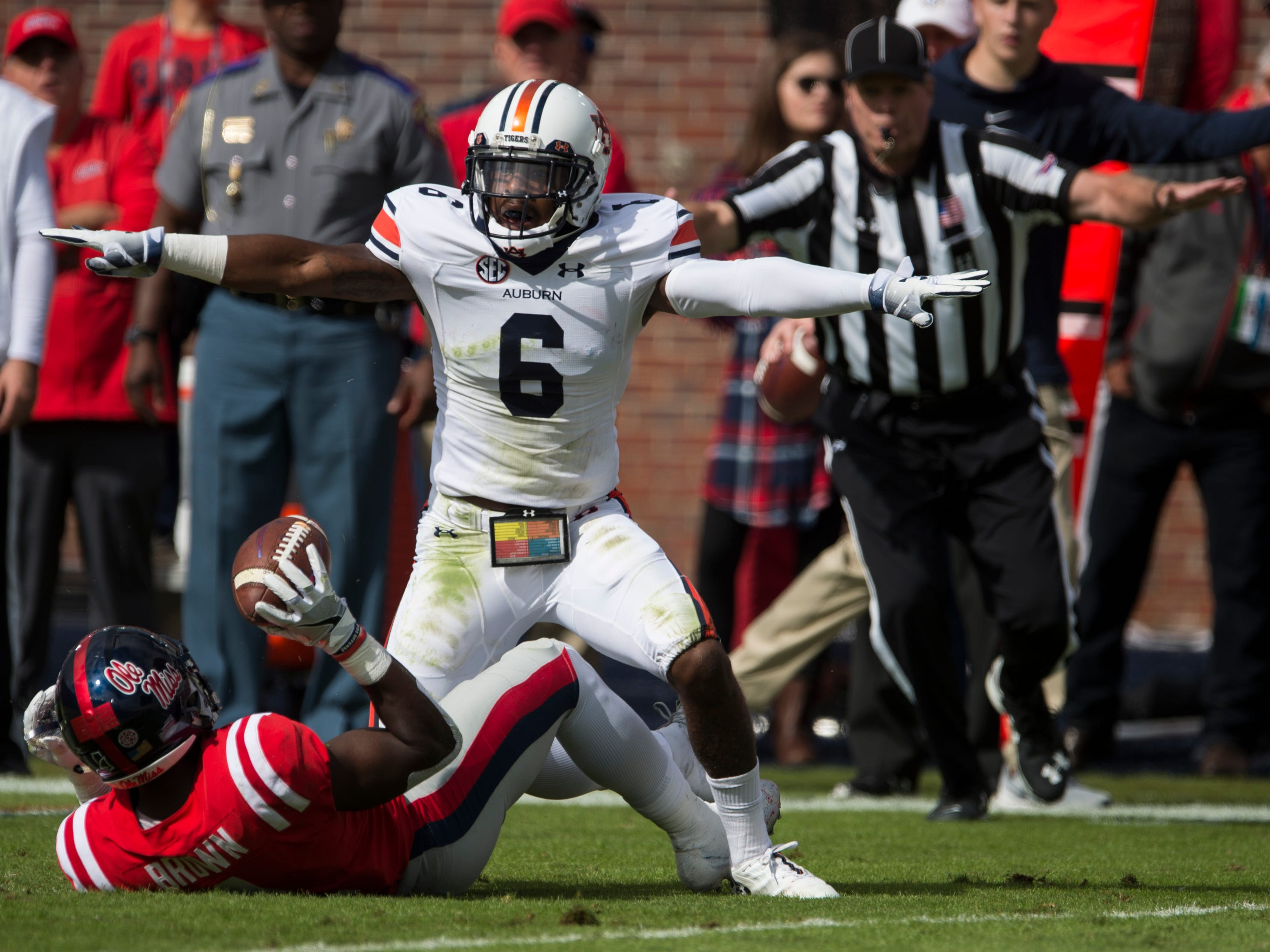 Auburn's Christian Tutt (6) reacts after Ole Miss' A.J. Brown  (1) drops the ball at Vaught-Hemingway Stadium in Oxford, Miss., on Saturday, Oct. 20, 2018. Auburn leads Ole Miss 10-6 at halftime.