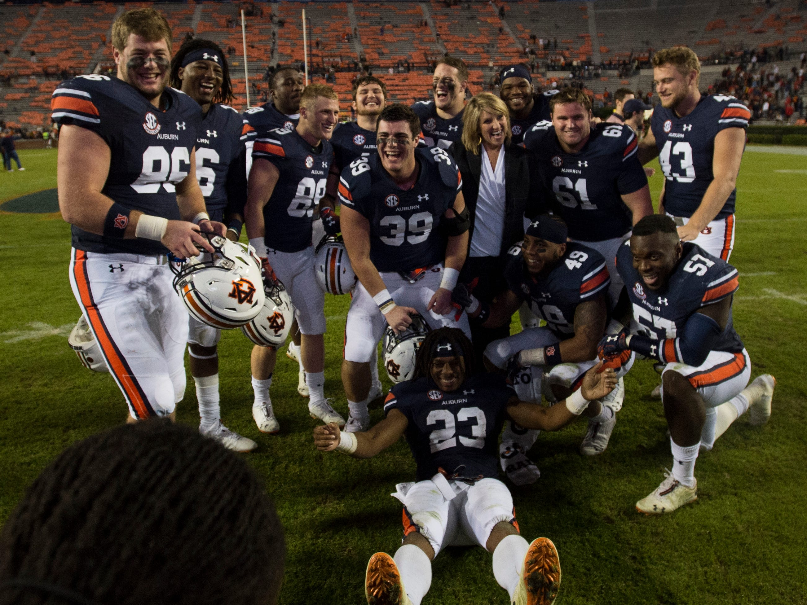 Auburn senior players pose for a picture on senior day after the game at Jordan-Hare Stadium in Auburn, Ala., on Saturday, Nov.. 17, 2018. Auburn defeated Liberty 53-0.