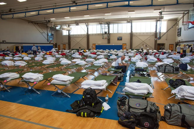 Urban Search and Rescue teams from the Federal Emergency Management Agency and Tennessee Task Force 1 prepare to deploy to Gulf Coast cities devastated by Hurricane Michael Oct. 11, 2018, Maxwell Air Force Base, Ala. Maxwell is the South East incident staging area for FEMA.
