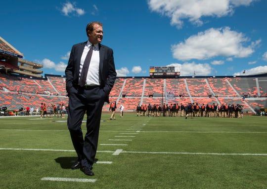 Auburn head coach Gus Malzahn takes the field with his team after the Tiger Walk at Jordan-Hare Stadium in Auburn, Ala., on Saturday, Sept. 15, 2018.