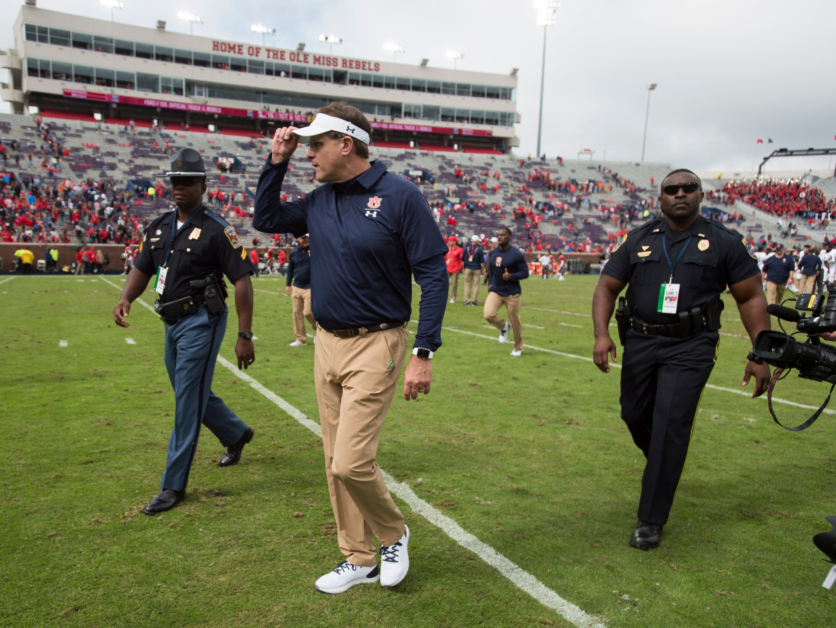 Auburn head coach Gus Malzahn tips his hat to the crowd after the game at Vaught-Hemingway Stadium in Oxford, Miss., on Saturday, Oct. 20, 2018. Auburn defeated Ole Miss 31-16.