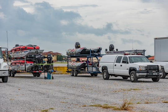 Search and Rescue Vessels Arrive at Maxwell Air Force Base in preperation for Hurricane Michael landfall in the Florida Panhandle.