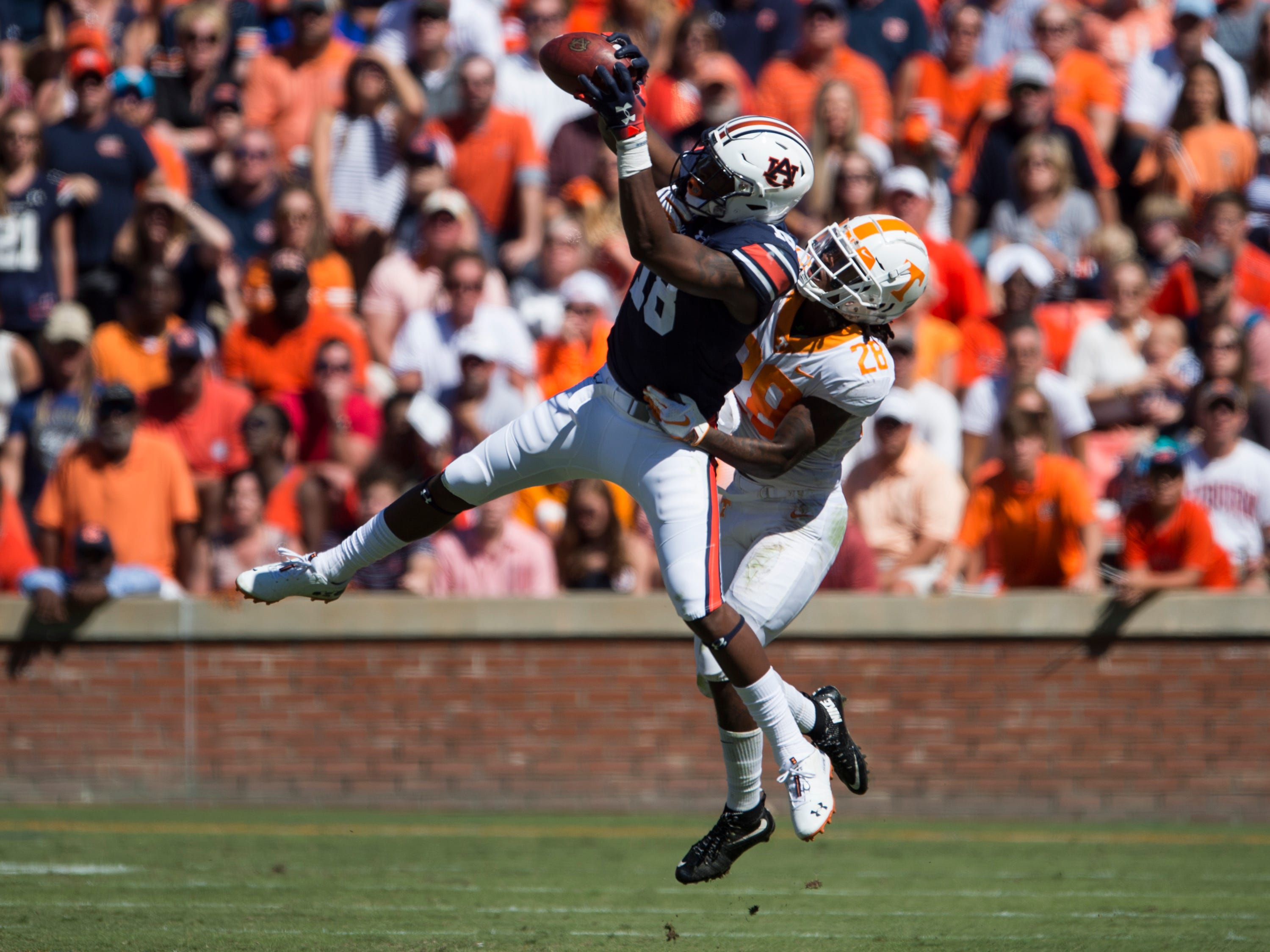 at Jordan-Hare Stadium in Auburn, Ala., on Saturday, Oct. 13, 2018. Tennessee defeated Auburn 30-24.