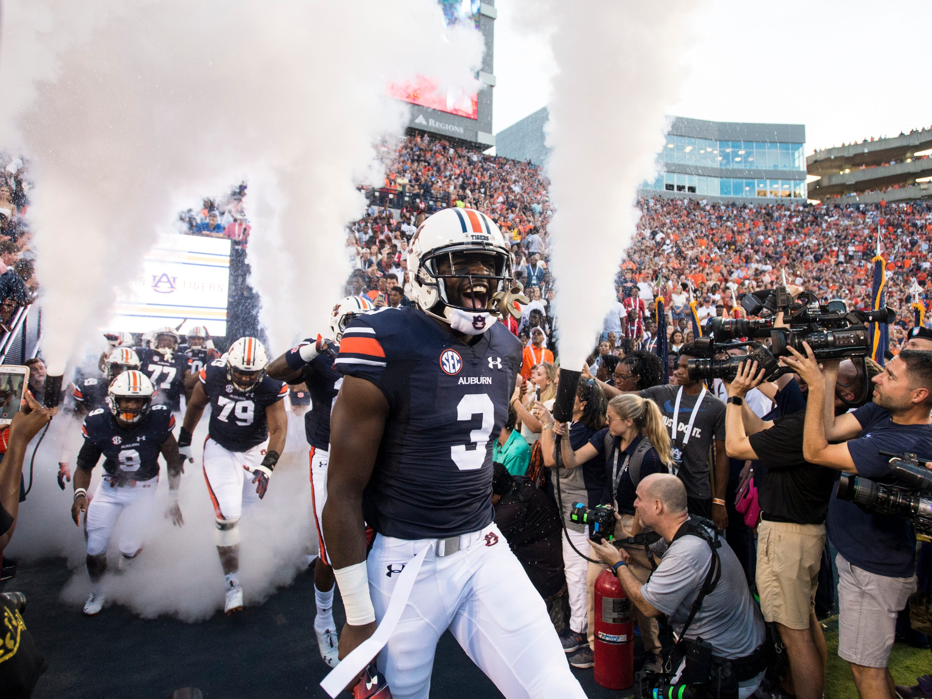 Auburn's Nate Craig-Myers (3) screams as his team is introduced at Jordan-Hare Stadium in Auburn, Ala., on Saturday, Sept. 8, 2018. Auburn leads Alabama State 42-2 at halftime.