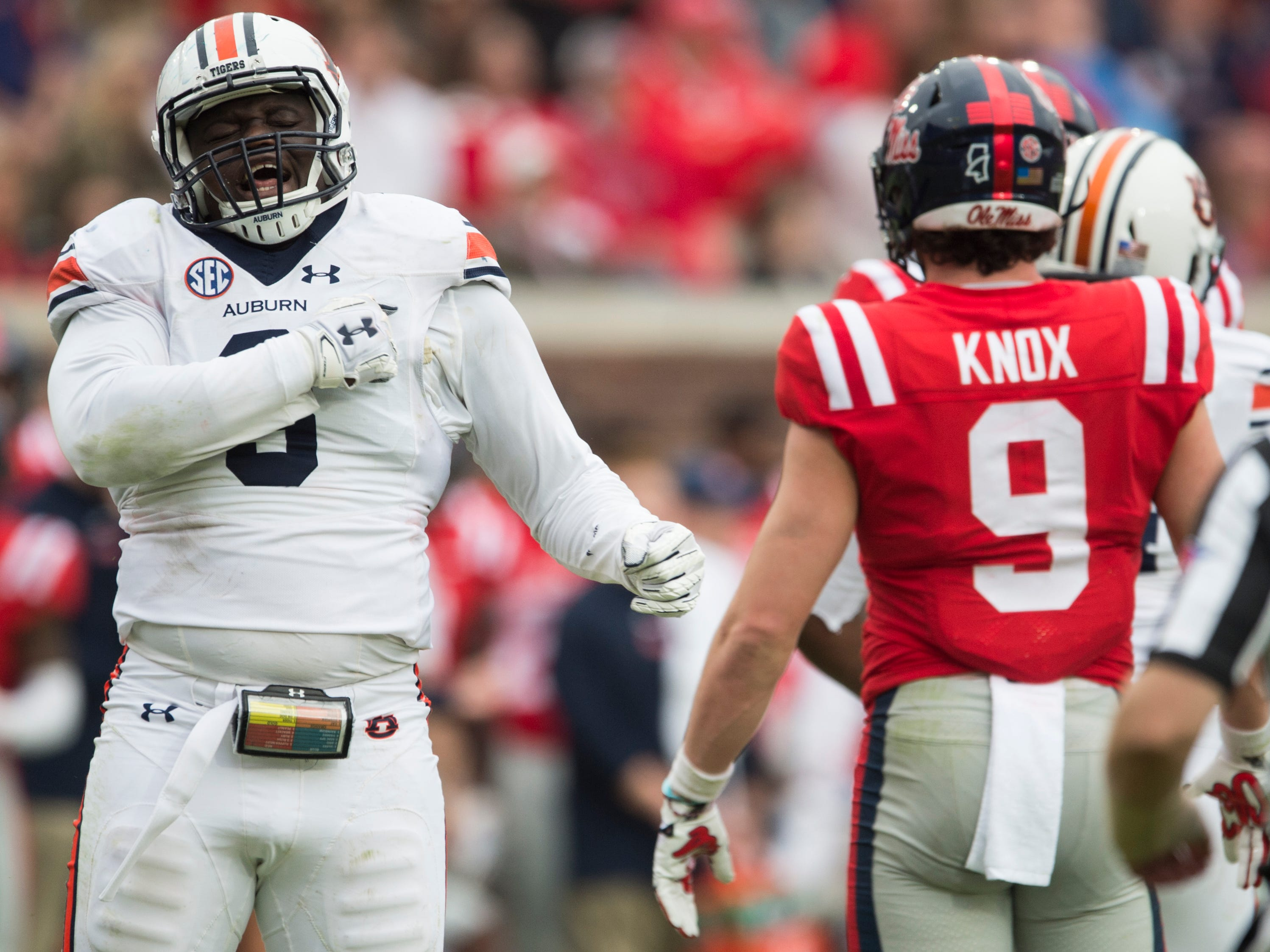 Auburn's Marlon Davidson (3) celebrates after getting a sack at Vaught-Hemingway Stadium in Oxford, Miss., on Saturday, Oct. 20, 2018. Auburn defeated Ole Miss 31-16.