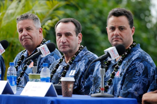 Auburn coach Bruce Pearl (left), Duke coach Mike Krzyzewski (center) and Arizona coach Sean Miller (right) at a Maui Invitational press conference on Nov. 19, 2018.