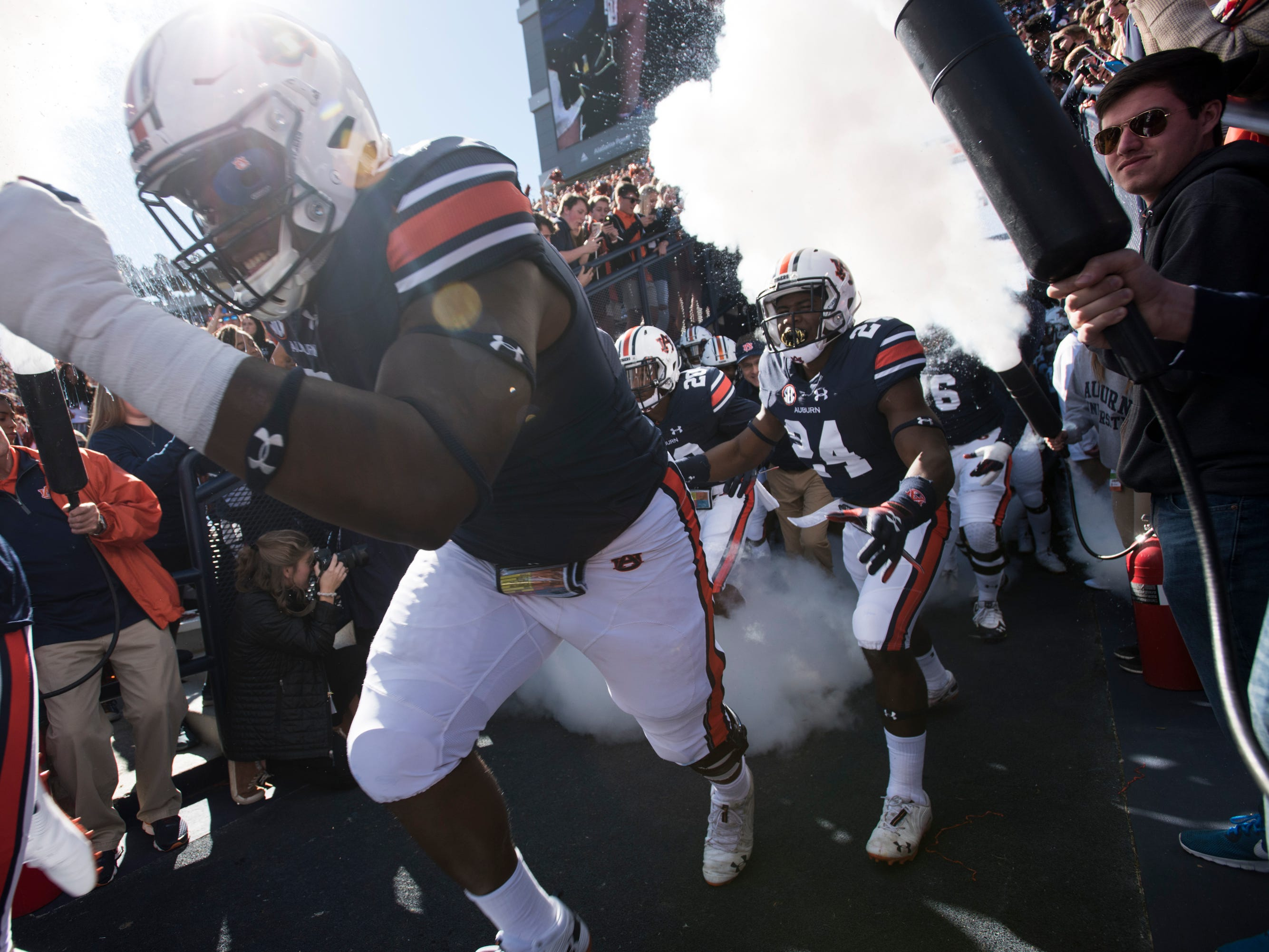 Auburn players take the field before their matchup with Texas A&M at Jordan-Hare Stadium on Saturday, Nov. 3, 2018. Auburn defeated Texas A&M 28-24.