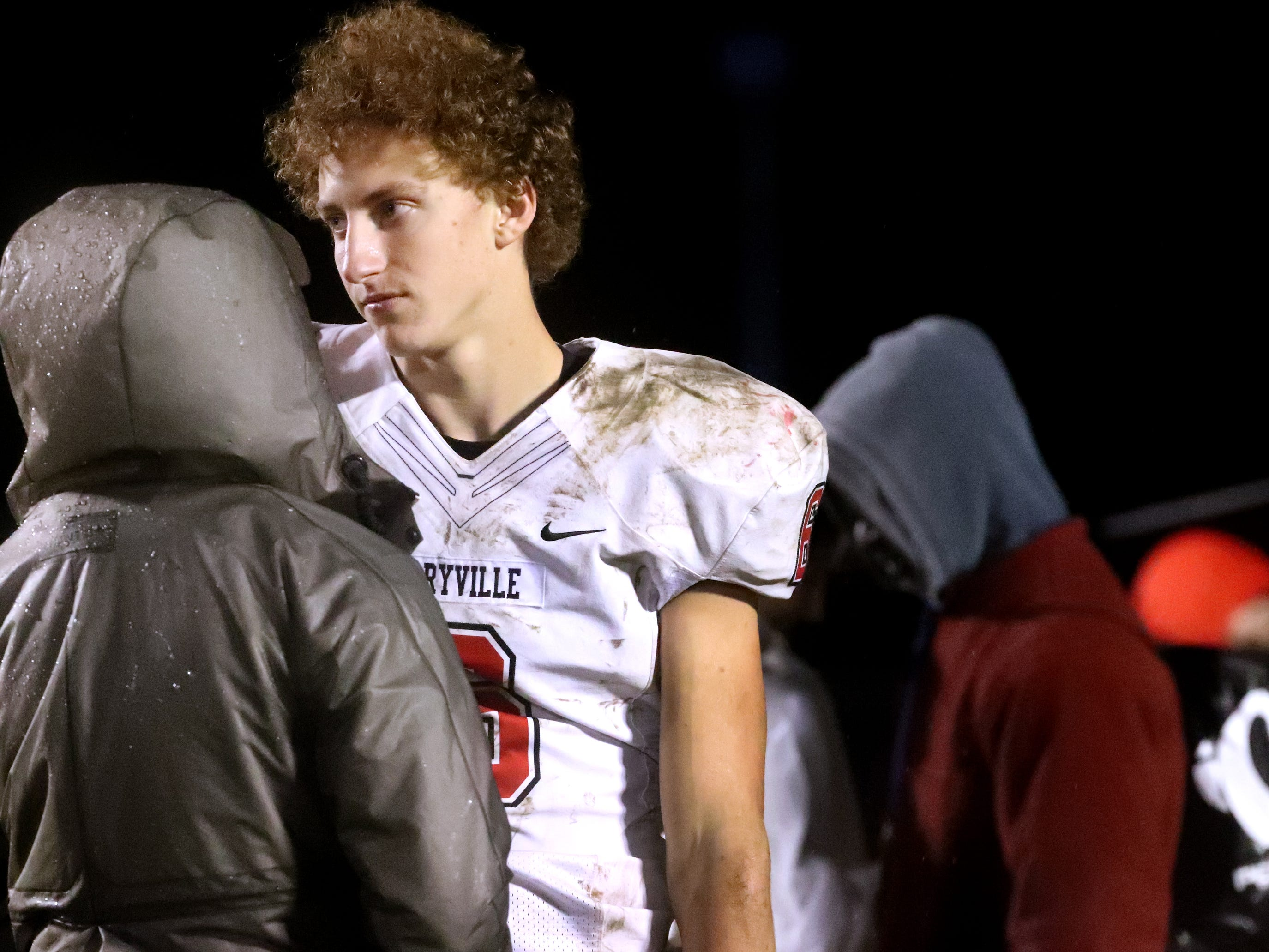 Maryville senior Michael Jones (6) reacts after losing to Oakland 38-0 in Murfreesboro, on Friday, Aug. 23 2018, during the 6A playoffs.