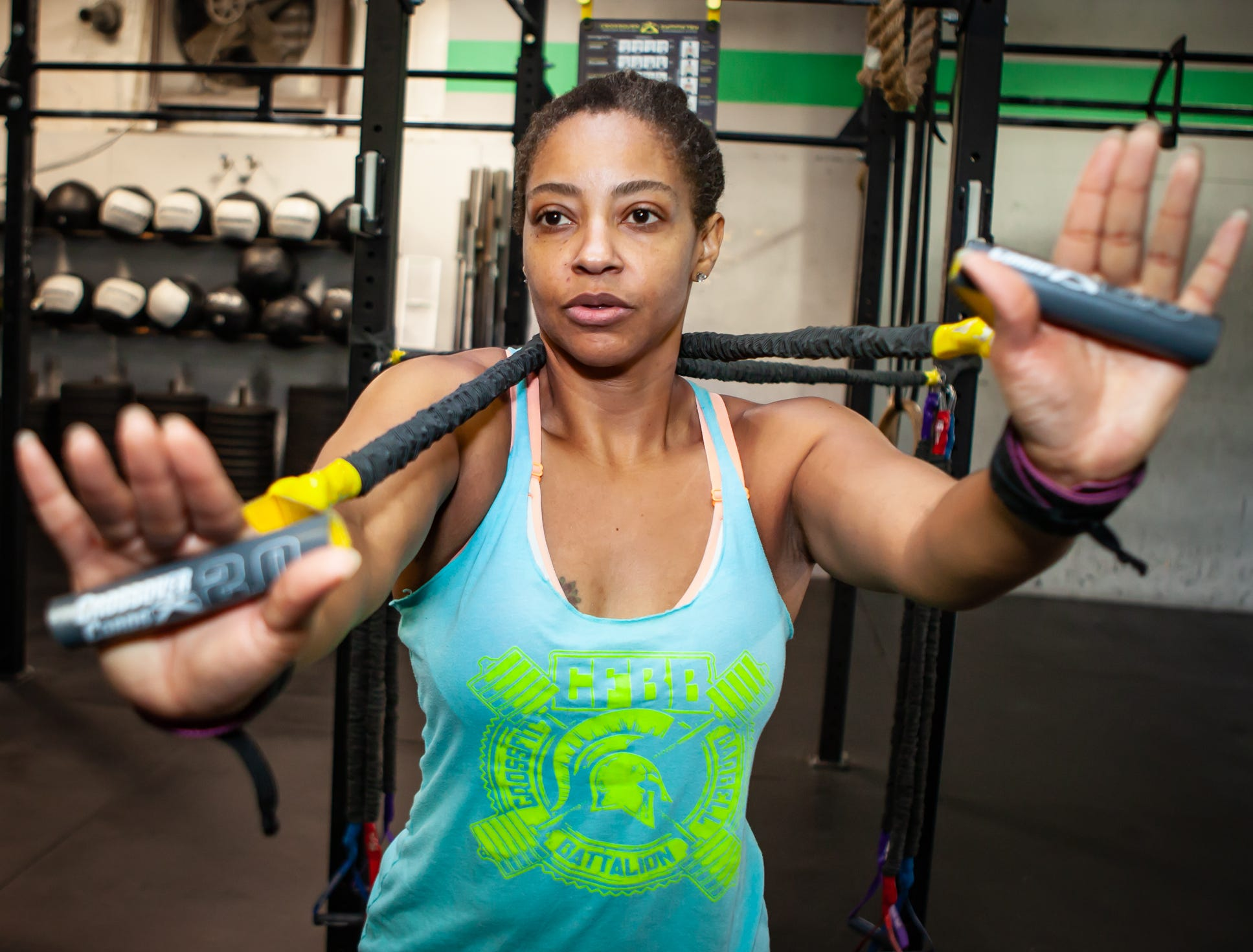 Pam McCluney works out at CrossFit Barbell Batallion in downtown Murfreesboro.