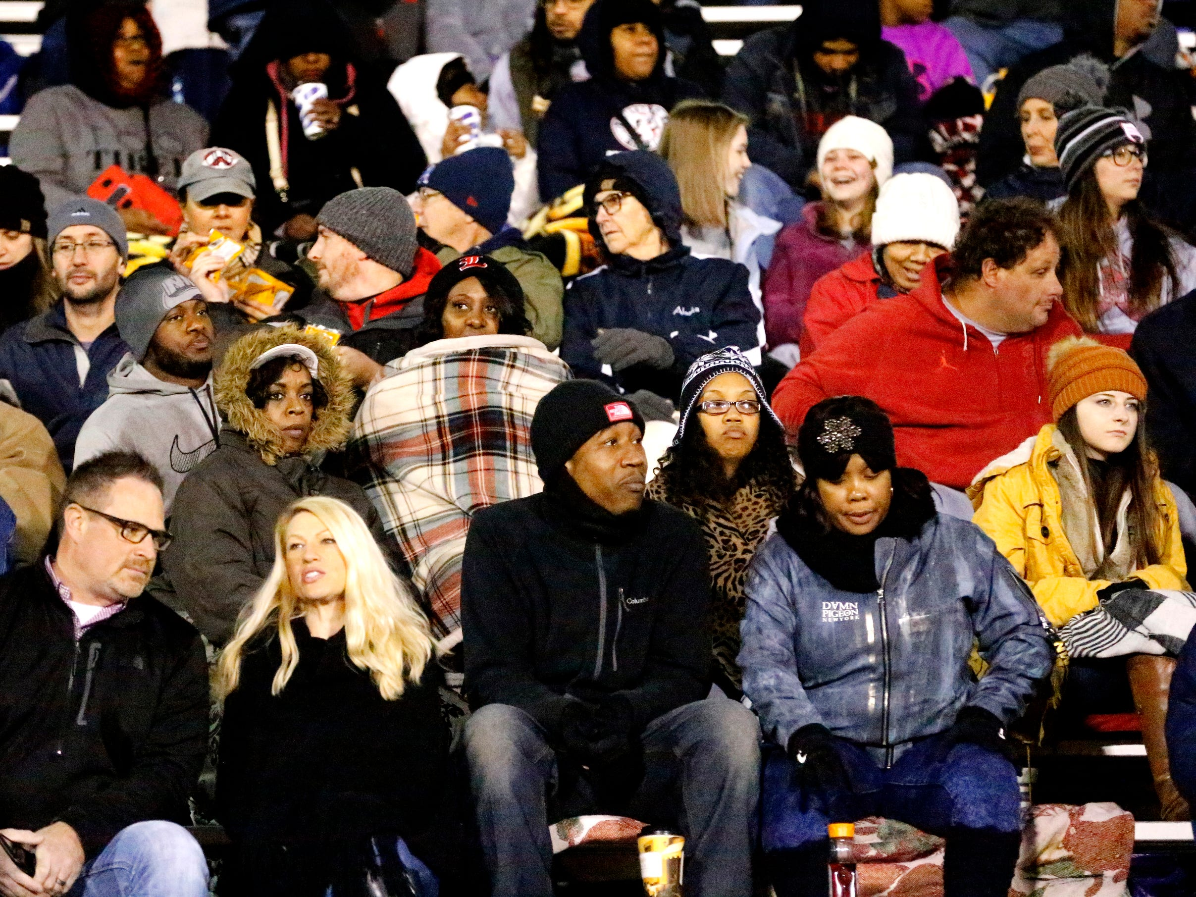 Oakland fans try to stay warm before the game between Oakland and Maryville in Murfreesboro, on Friday, Aug. 23 2018, during the 6A playoffs.