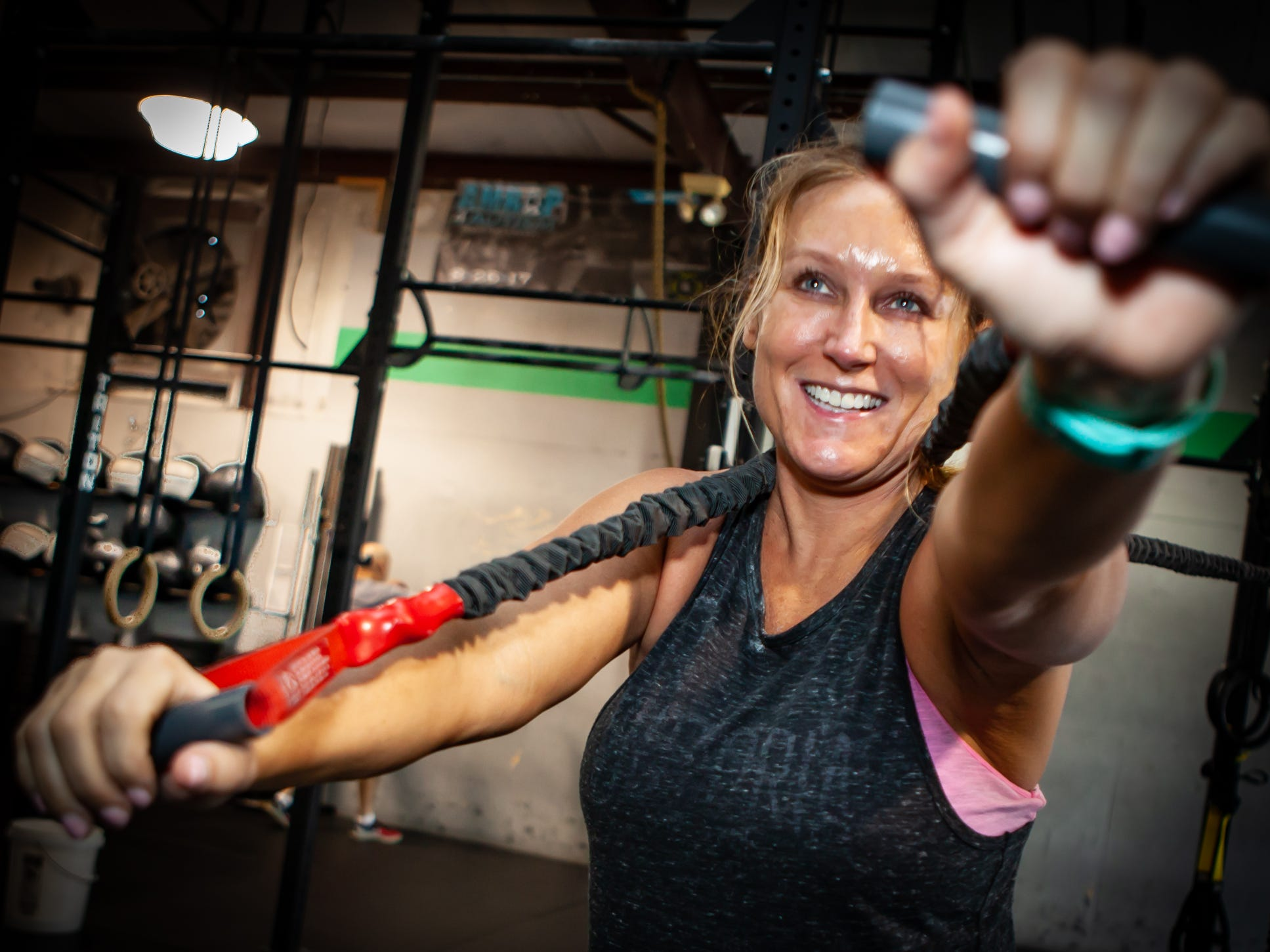 Jenni Ricks works out at the CrossFit Barbell Batallion in downtown Murfreesboro. She is one of the Masters athletes (between the age of 40 and 50)