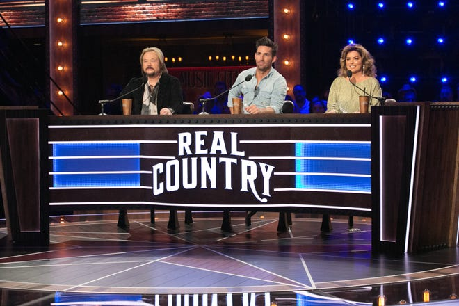 REAL COUNTRY -- Episode 103 -- Pictured: (l-r) -- Travis Tritt, Jake Owen and Shania Twain