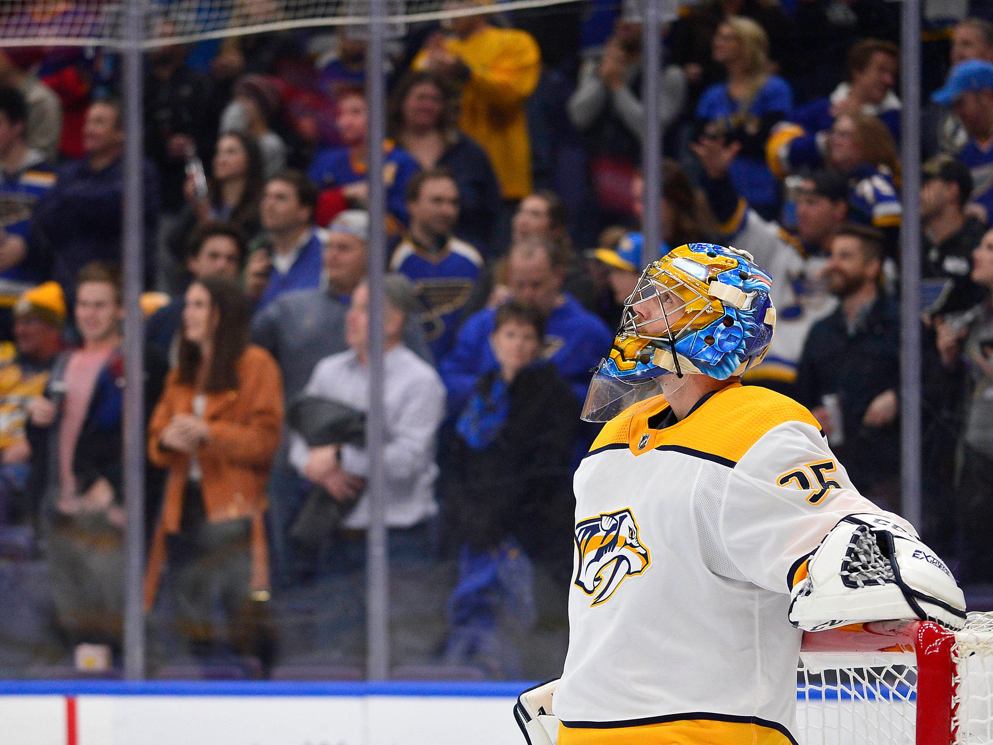 Nashville Predators goaltender Pekka Rinne (35) looks on after giving up a goal to the St. Louis Blues during the third period at Enterprise Center.
