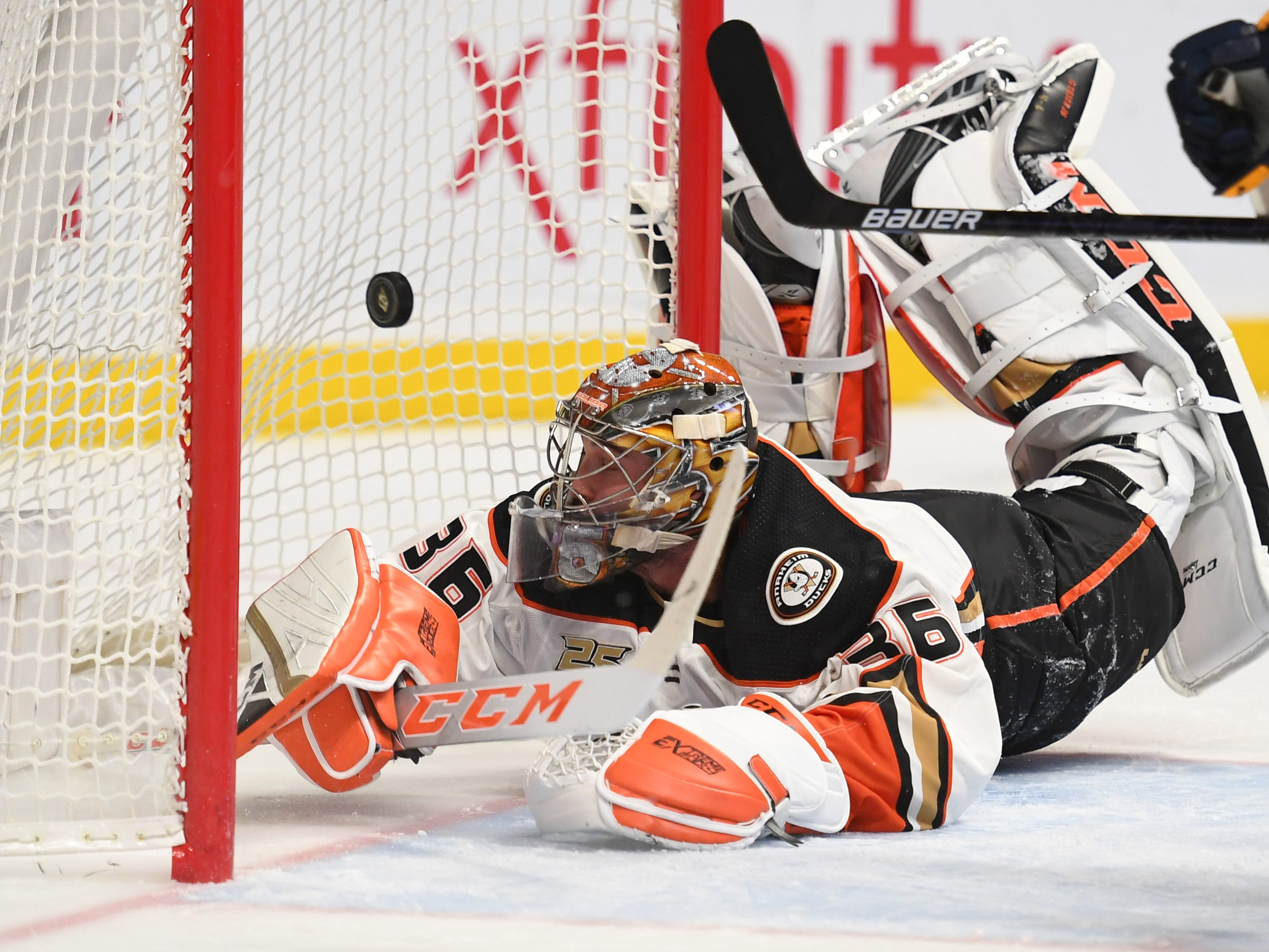 Anaheim Ducks goaltender John Gibson (36) is unable to stop a shot by Nashville Predators left wing Austin Watson (not pictured) during the first period at Bridgestone Arena.