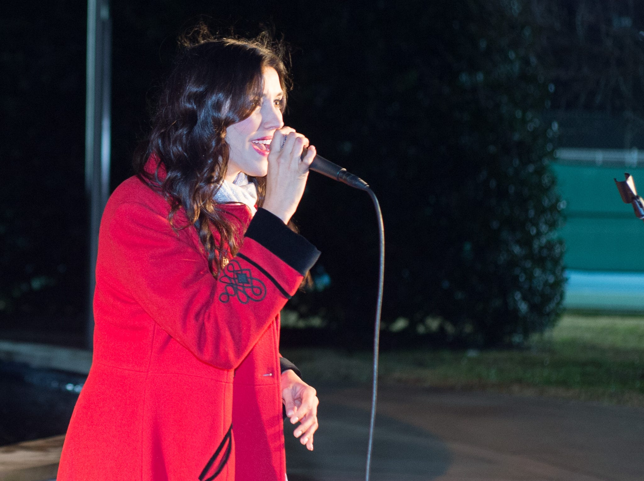 Crystal Day entertains the crowd during the Hendersonville HolidayFest Annual Tree Lighting Ceremony at Memorial Park on Sunday, Nov. 25.