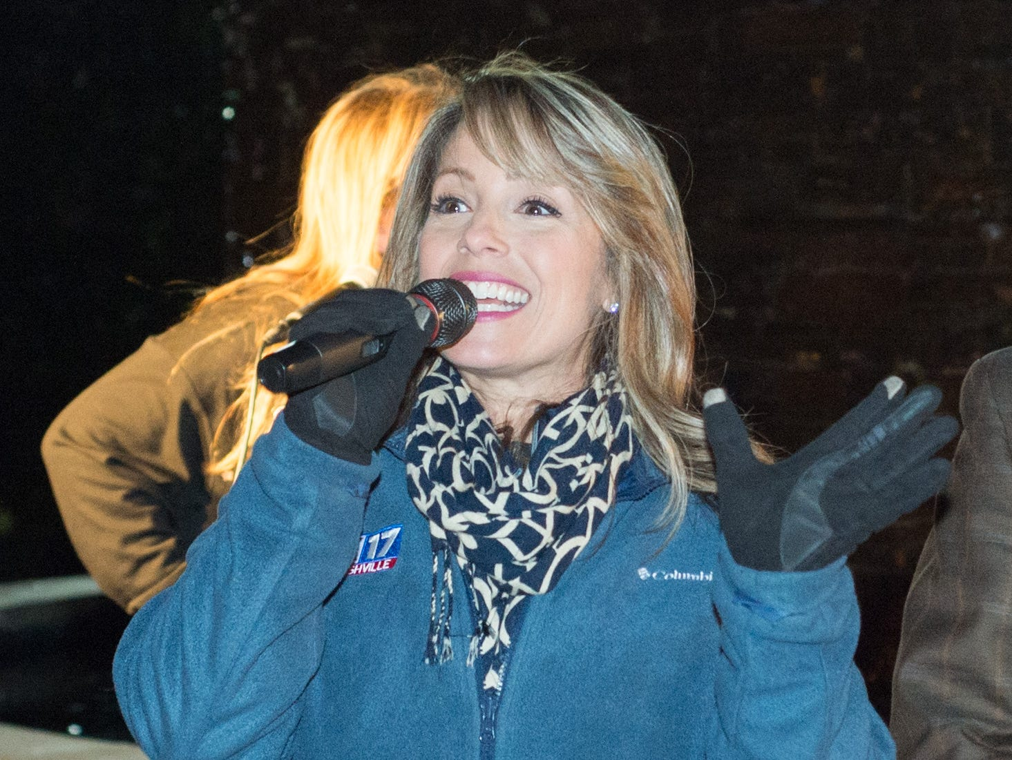 Fox17 anchor and reporter Jennifer Waddell helps to emcee the Hendersonville HolidayFest Annual Tree Lighting Ceremony at Memorial Park on Sunday, Nov. 25.