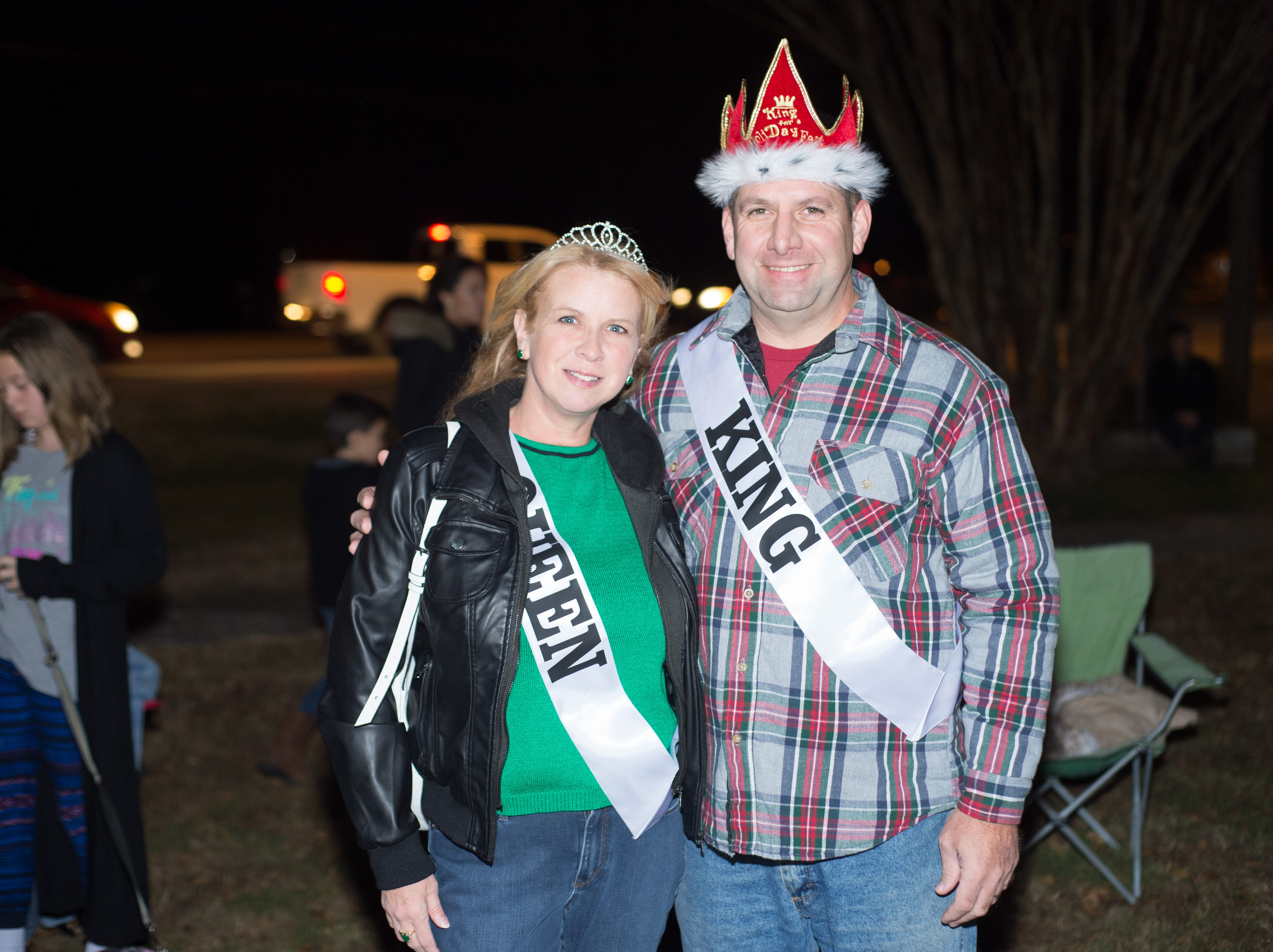2018 HolidayFest Queen and King Rachel and Tommy McAuley pause for a photograph during the Hendersonville HolidayFest Annual Tree Lighting Ceremony at Memorial Park on Sunday, Nov. 25.