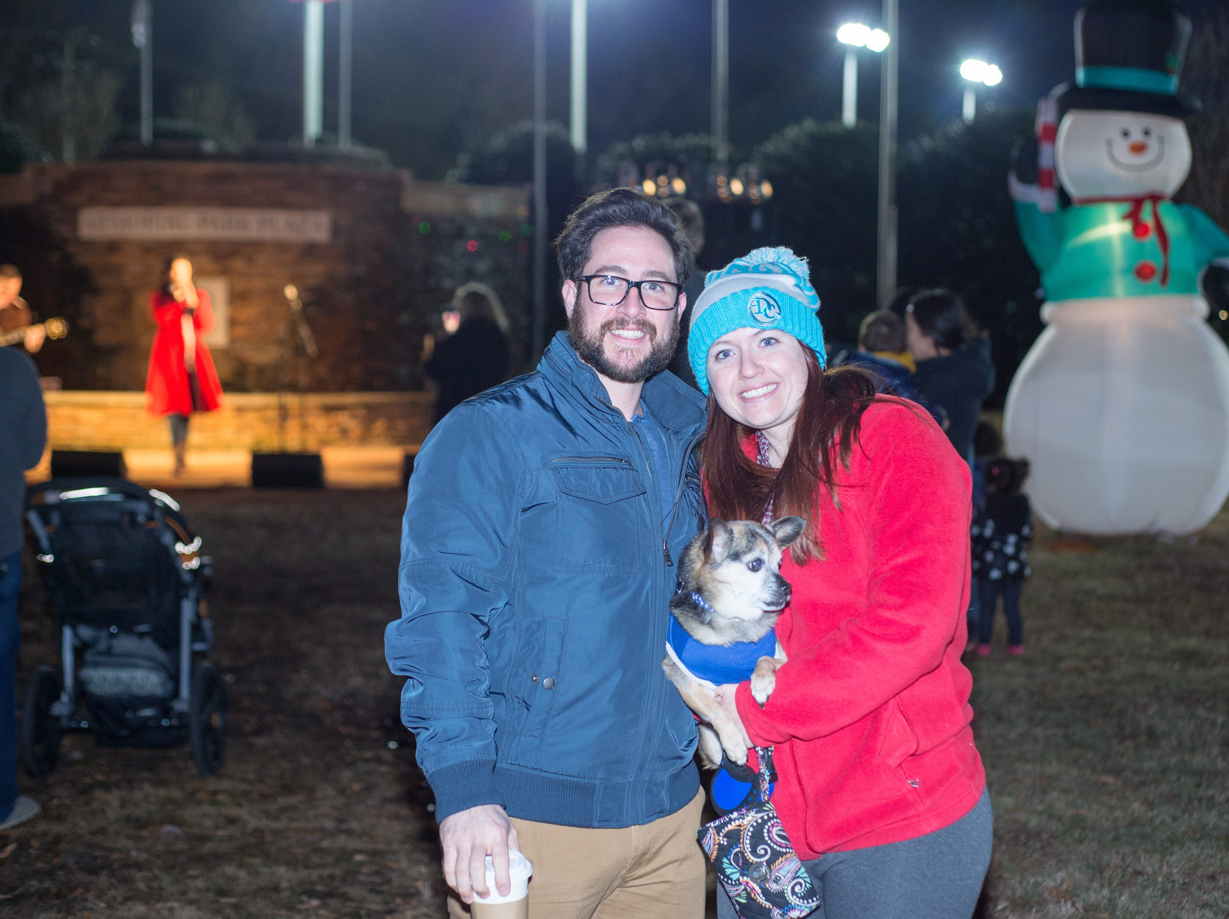 Warren, Kelsey and Elmo enjoy the Hendersonville HolidayFest Annual Tree Lighting Ceremony at Memorial Park on Sunday, Nov. 25.