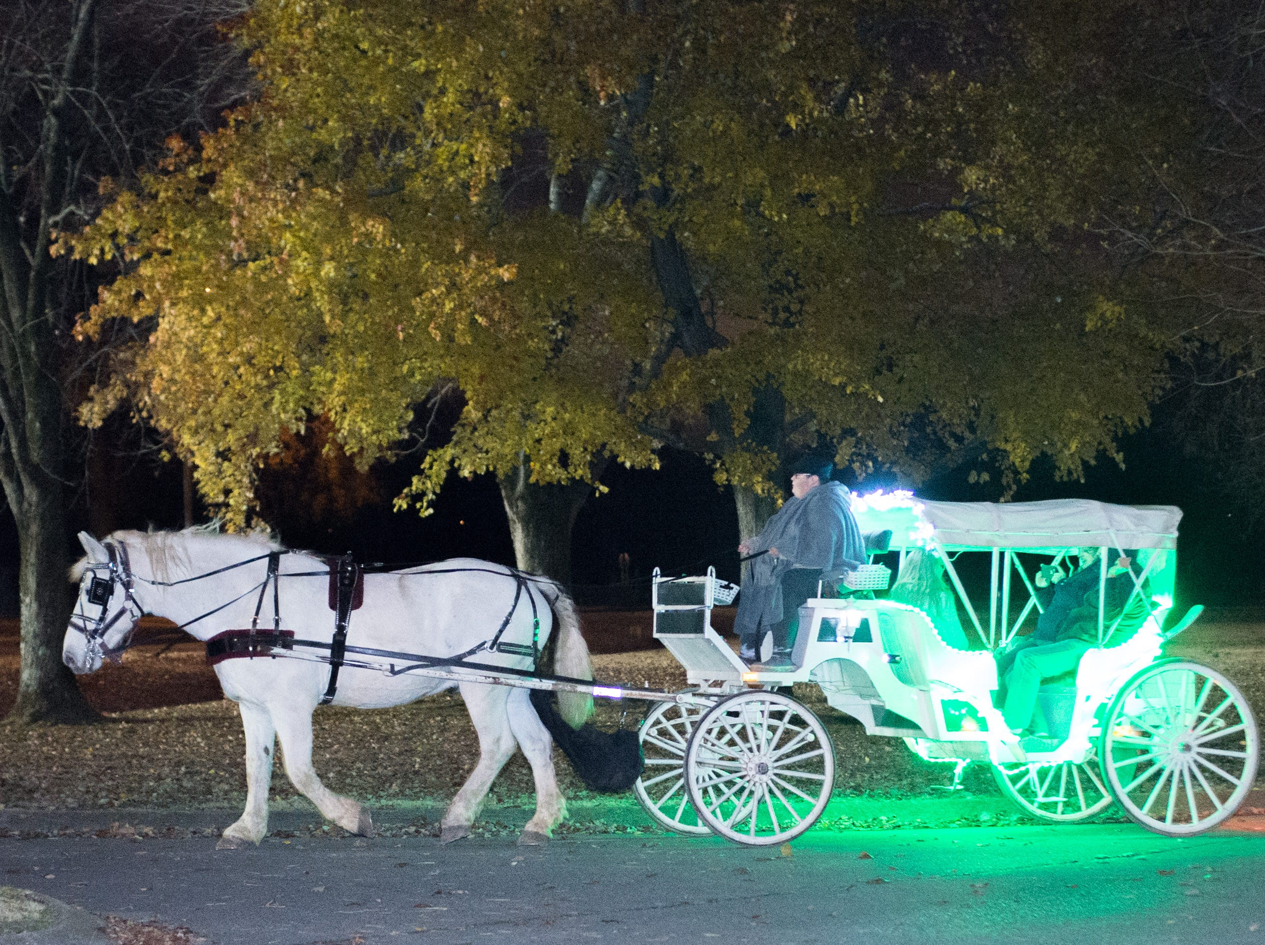 Sugar Creek Carriage Rides add fun to the Hendersonville HolidayFest Annual Tree Lighting Ceremony at Memorial Park on Sunday, Nov. 25.