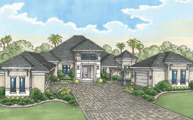 Florida Lifestyle Homes' Brynwood overlooks the 5th fairway of Quail West's Preserve Course.