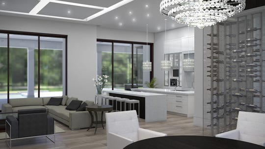 Key features of the Lauréne include the flex clubroom, formal dining room with glass wine cellar, and lake and golf course views.