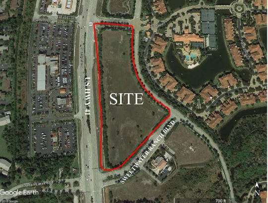 An aerial look at the property where the Marketplace at Coconut Point is planned off of Sweetwater Ranch Boulevard and U.S. 41 in Estero.