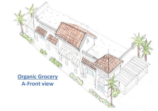 A rendering of the grocery store within the planned Marketplace at Coconut Point located off of U.S. 41 and Sweetwater Ranch Boulevard in Estero.