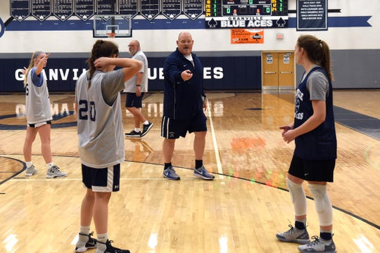 Granville girls basketball coach Eric Steele leads the team in drills during a practice on Monday, Nov. 19, 2018 at the high school.