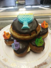 Doughnut cake available at Butterflake Bake Shop in Teaneck for Hannukah